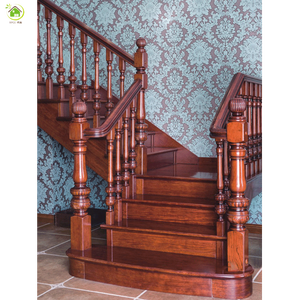 Gold Color Carving Wooden Bamboo Stair Handrail Railing