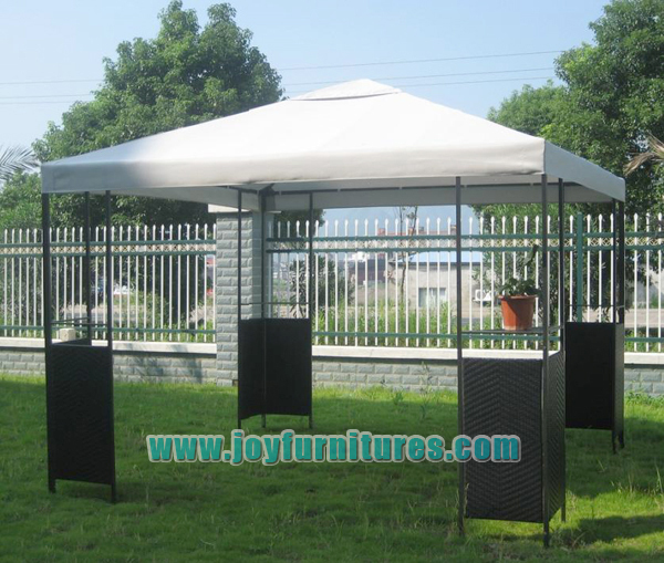 Steel Rattan Pavilion with Canopy