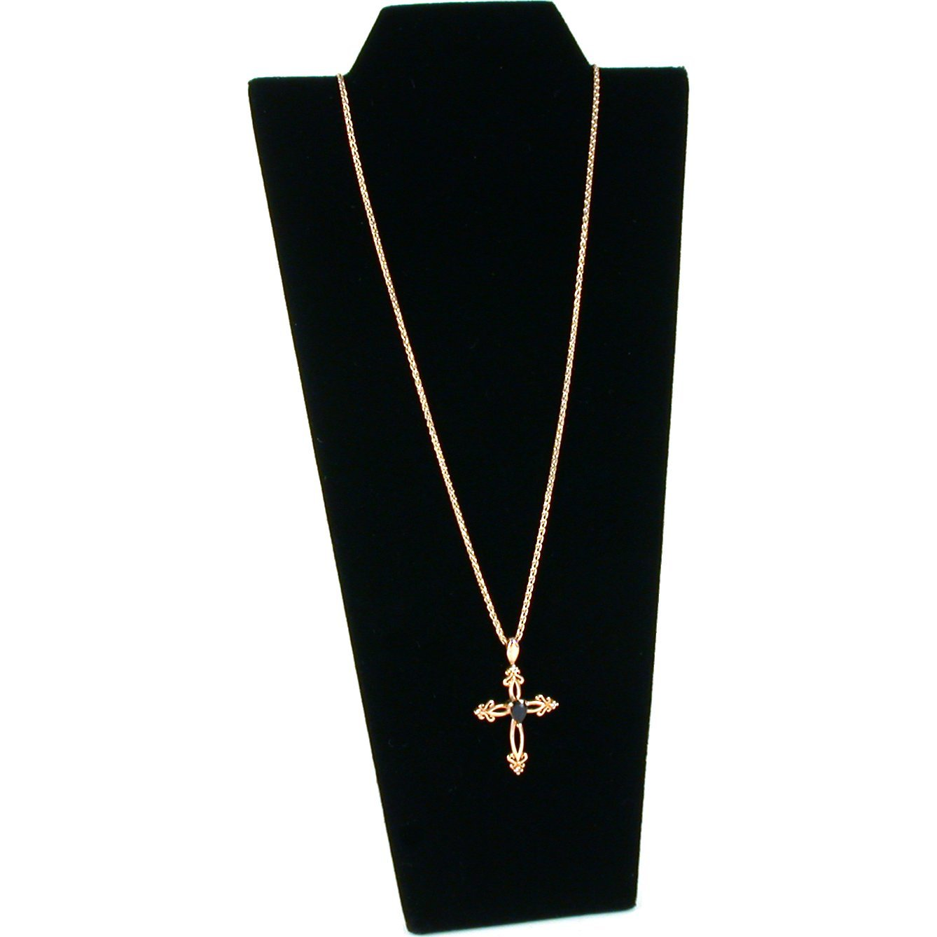 Black Velvet Chain Necklace Easel Display Jewelry Bust