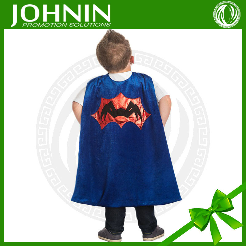 Top quality small MOQ cheap hero image printed customized satin kids spider cape