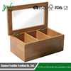 Natural Living 3 Compartment Bamboo Tea Box with Clear Lid