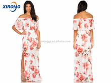 flower printed wedding dress Guangzhou women clothing factory ladies off shoulder maxi dress