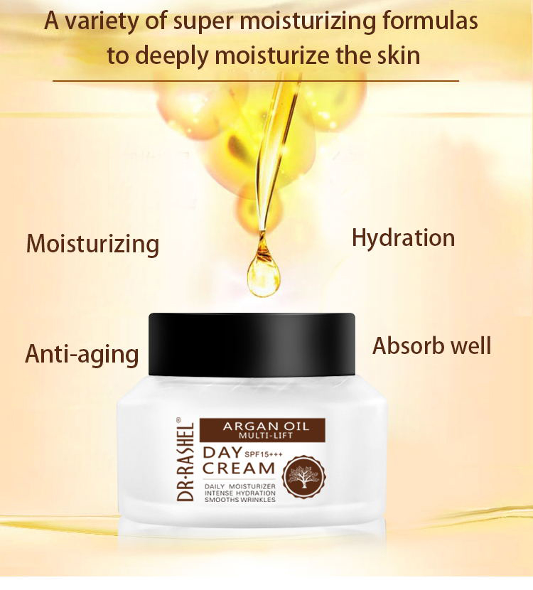 DR.RASHEL Daily Moisturizer Intense Hydration Smooth Wrinkles Face Whitening Cream Argan Oil Day Cream
