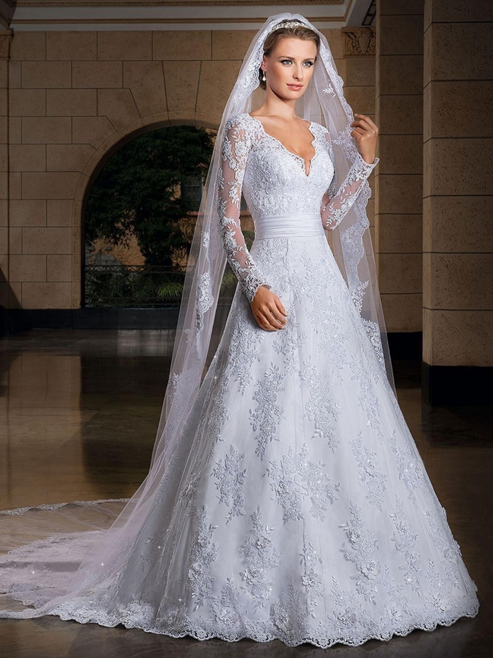 2016 Sexy Long Sleeve Lace Wedding Dresses Wedding Custom Made Bridal Gown Vestido de noiva with