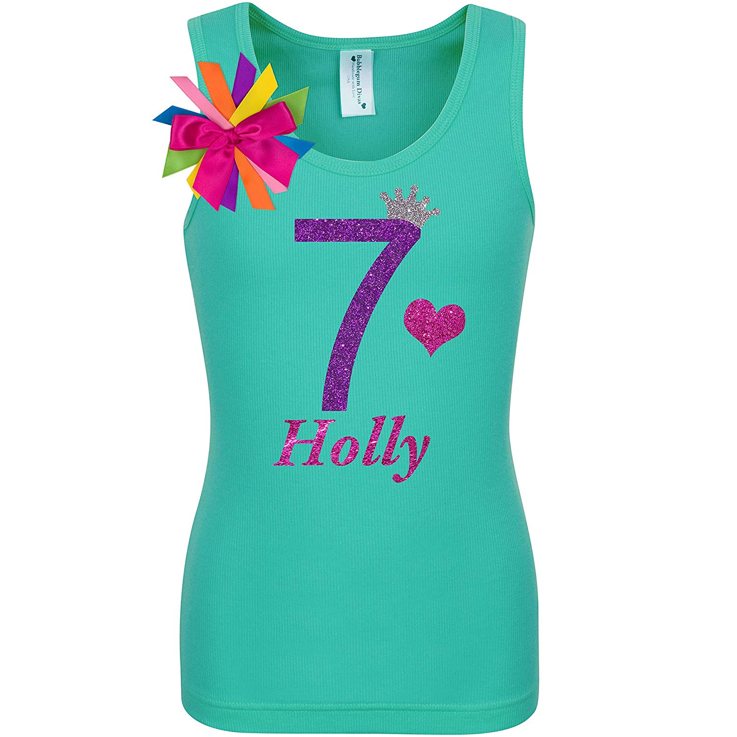 afe731d0e5fb Get Quotations · 7th Birthday Shirt Purple Glitter Seven Rainbow T-Shirt  Tank Top Custom Name Age 7