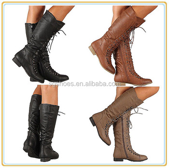 a53553b9079 Womens Lace Up Boot Knee High Combat Fashion Military Boots ...