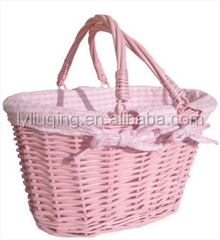 Lined Wicker Baskets With Handles Pink Storage