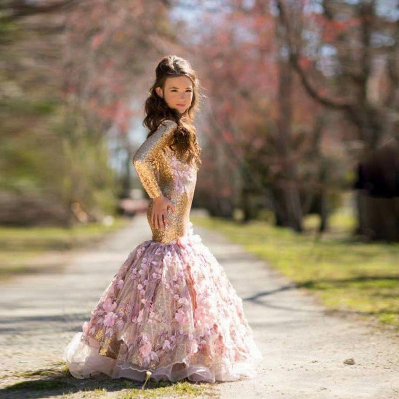 かわいい女の子フラワーガールのドレス人魚のガウンゴールデンスパンコールで3dフラワー花プリンセスガールドレス