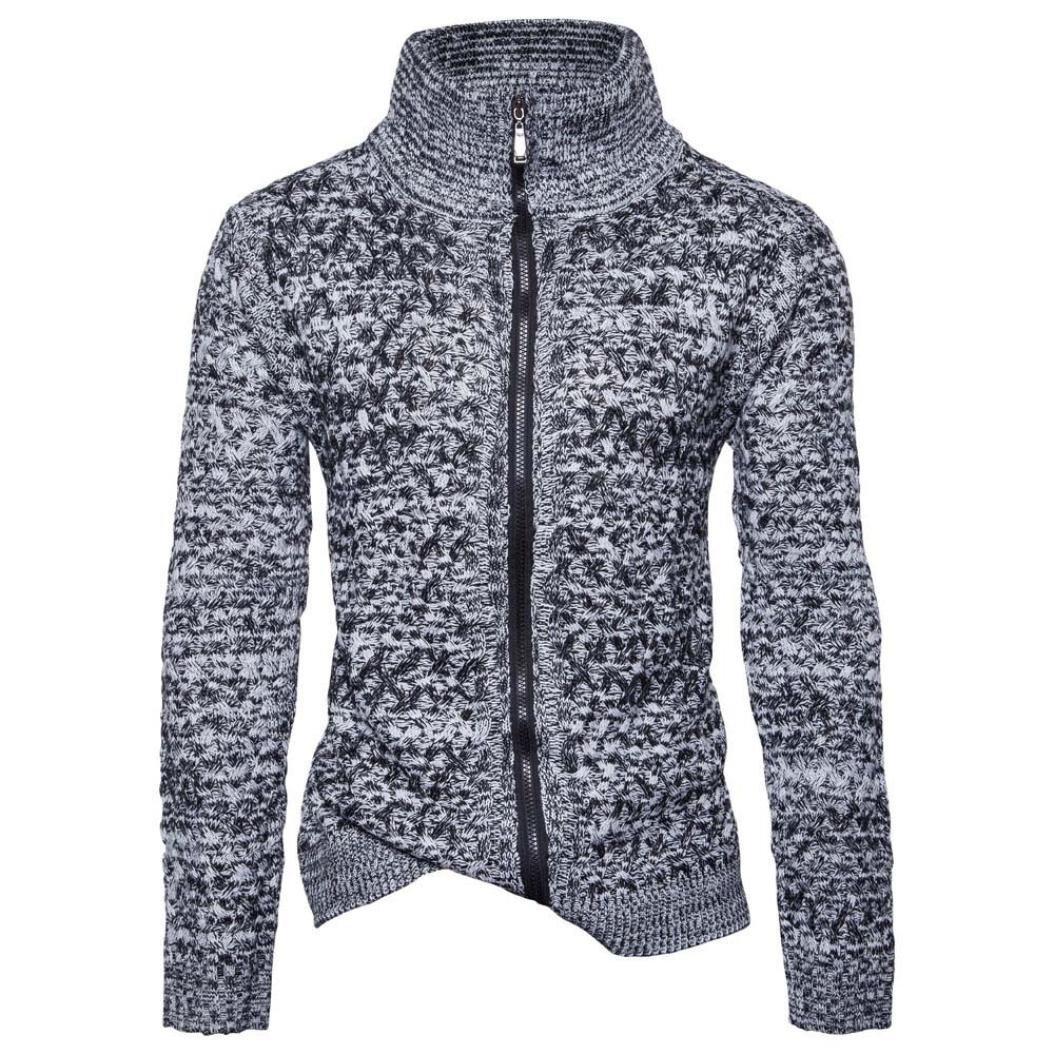 Mens Coat,FUNIC Men's Autumn Winter Zipper Sweater Loose Jumper Knitwear Outwear Jacket Coats (2XL, Gray)