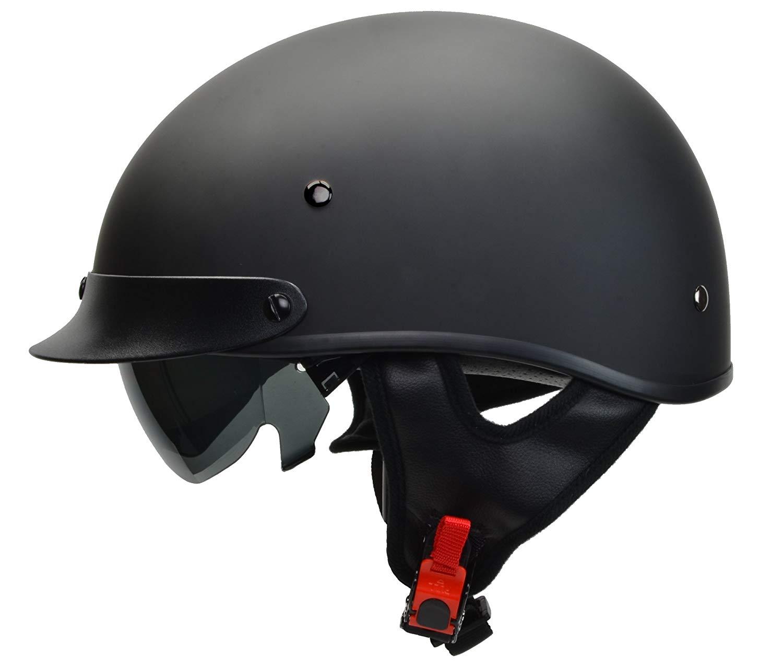 a56029e521a Get Quotations · Vega Helmets Warrior Motorcycle Half Helmet with Sunshield  for Men   Women