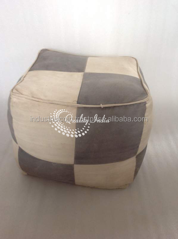 Chess Board Style Soft Fabric Square Pouf