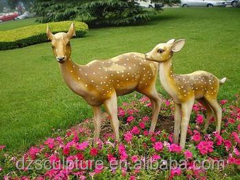 Life Size Garden Sika Deer Statue Fiberglass Deer Sculpture For Sale