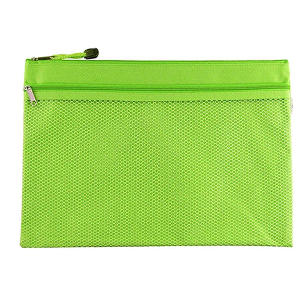 2PCS Canvas Double-deck Document File Stationery Zipper Bag Storage Pouch, Green