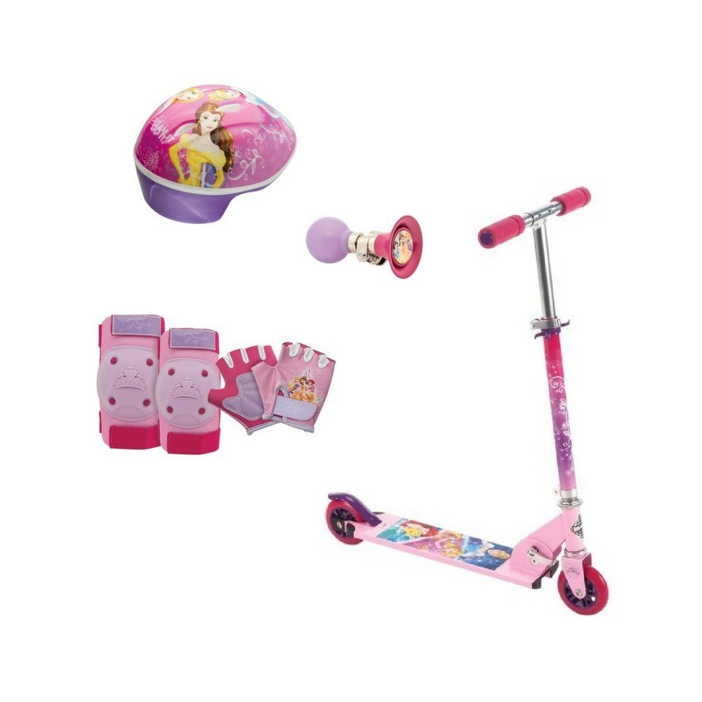 Disney Princess 2-Wheel Inline Scooter Bundle with Helmet and Elbows/Knees/Hands Pad Sets, with BONUS Pink Horn