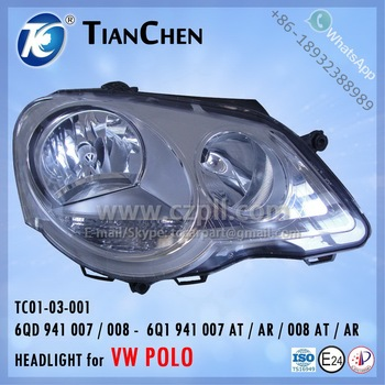 HEADLIGHT for VW POLO 2005 - 2009 EU: 6Q1 941 007 AT / AR / 008 AT / AR 6QD 941 007 / 008