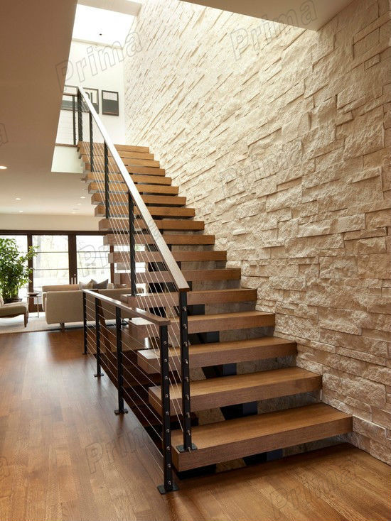 carbon beam wooden steps ss304 wire interior stair railings