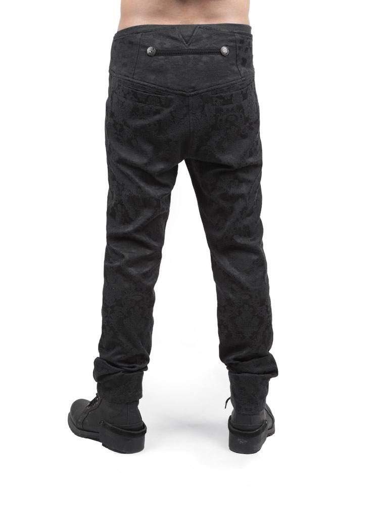 5efb9179e6 K-193 Punk Rave Gothic Men - Jacquardhose mit hohem Bund und hoher Taille
