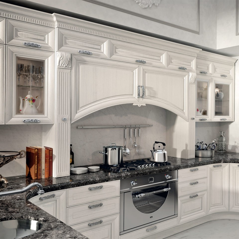 Elegant Solid Wood Kitchen Cabinet With Crown Molding ...
