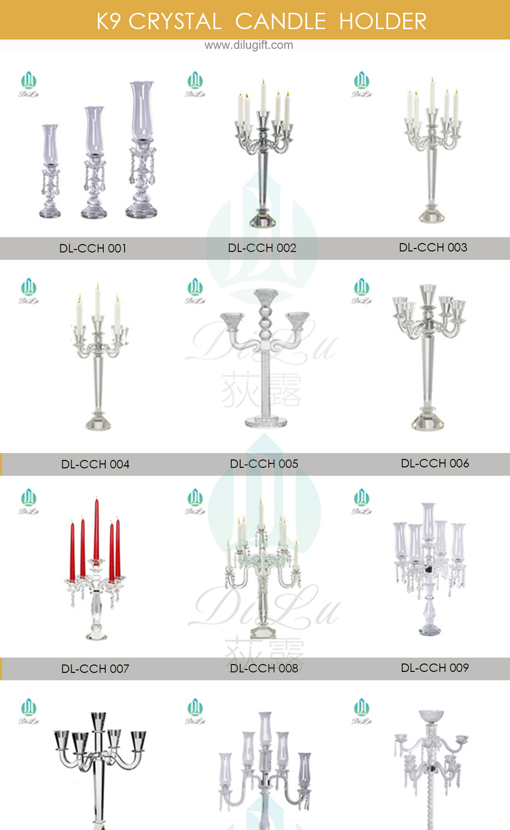 DL-21ZT011 Wholesale single tall crystal glass candle holders for weddings decorative