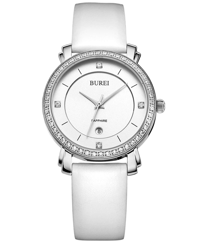 BUREI Women Watch Fashional Dress Quartz Watches for Ladies Simple Face Date Calendar Sapphire Lens and Soft Leather Strap