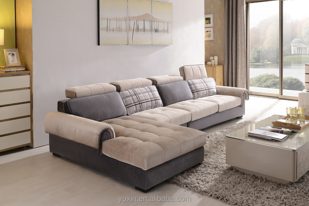 2018 modern high quality fabric sectional sofa double divan sofa set