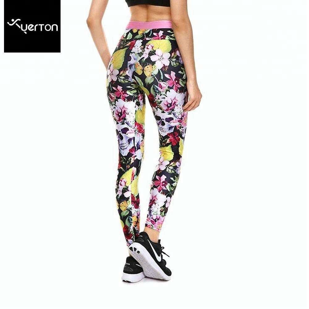 Women's Yoga Pants Capri High Waisted Workout Grass Printed Stretchy Sport Fitness Riding Running Activewear Legging
