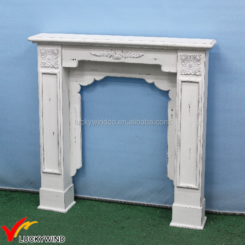 Distressed Decor French Country Vintage Wood Fireplace