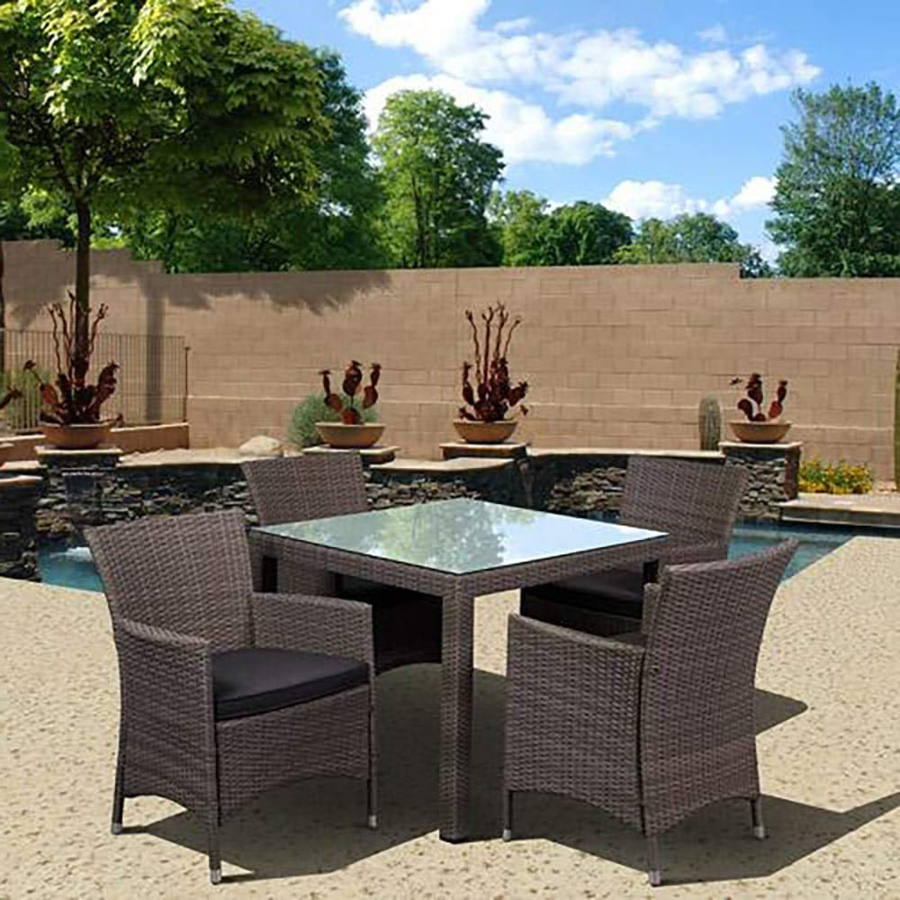 Stylizio Deluxe All-Weather Wicker 5-Piece Patio Dining Set with Armchairs, Grey Patio Outdoor Backyard Garden