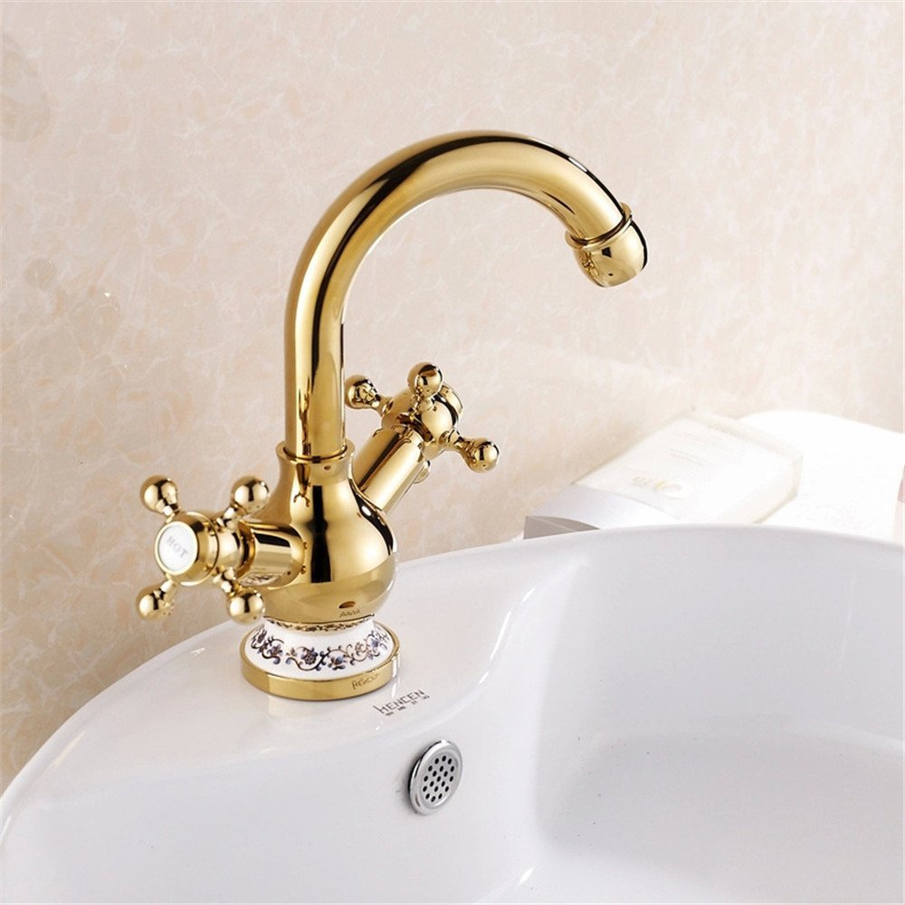 FHLYCF Basin faucet, golden imitation, all copper platform, basin blue and white porcelain, hot and cold faucet, rotatable bathroom faucet, water faucet
