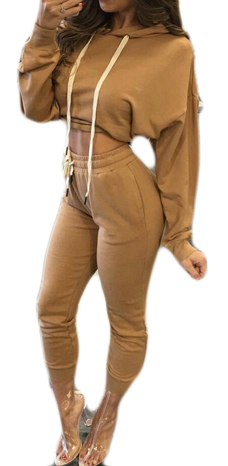 dd94f28eff Get Quotations · Pivaconis Women Sexy Crop Top Hoodies Sweatpant 2 Piece  Outfit Tracksuits