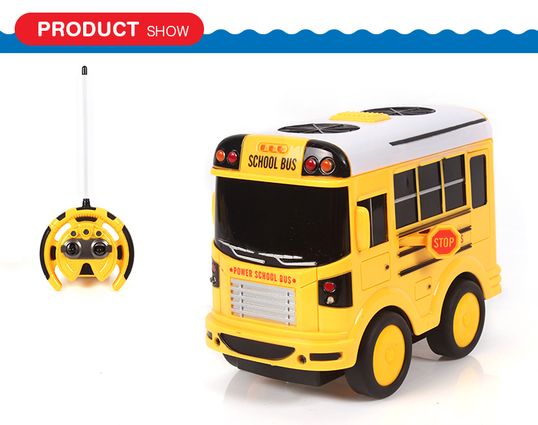 High quantity kids cartoon remote control plastic bus toy with light and music