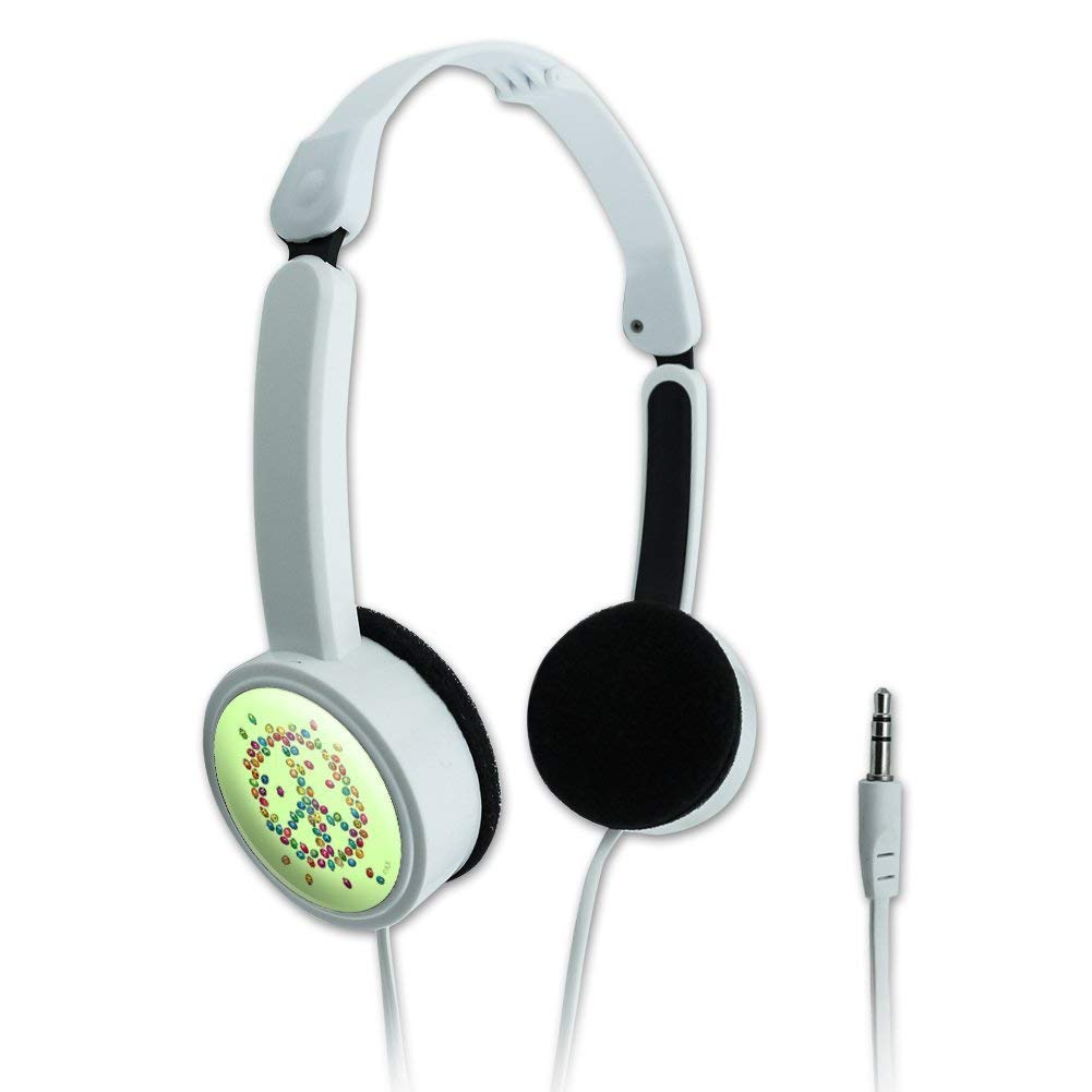 Graphics and More Lady Bug Rainbow Peace Sign Novelty Travel Portable On-Ear Foldable Headphones