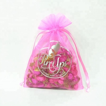 Custom pink drawstring jewelry organza pouch with logo