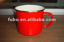 9cm red camping enamelware mug with designs
