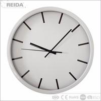 Wholesale quartz analog white metal 12 inch wall clock round