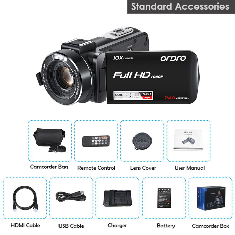 1080P 30fps Camcorder 10X Optical Zoom Camera 120x Digital Zoom Camera ORDRO Z82 Handheld Camcorder