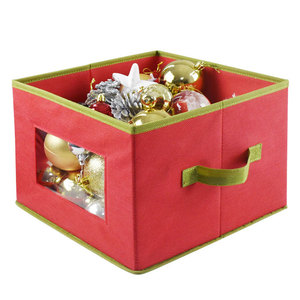 Wholesale happy holiday save space Cheaper fabric foldable zipper decorative storage box for christmas accessories with lid