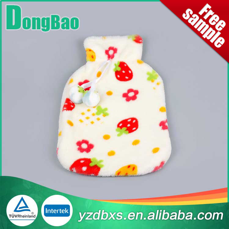 white rubber soft plush hot water bag soft plush cover with strawberry