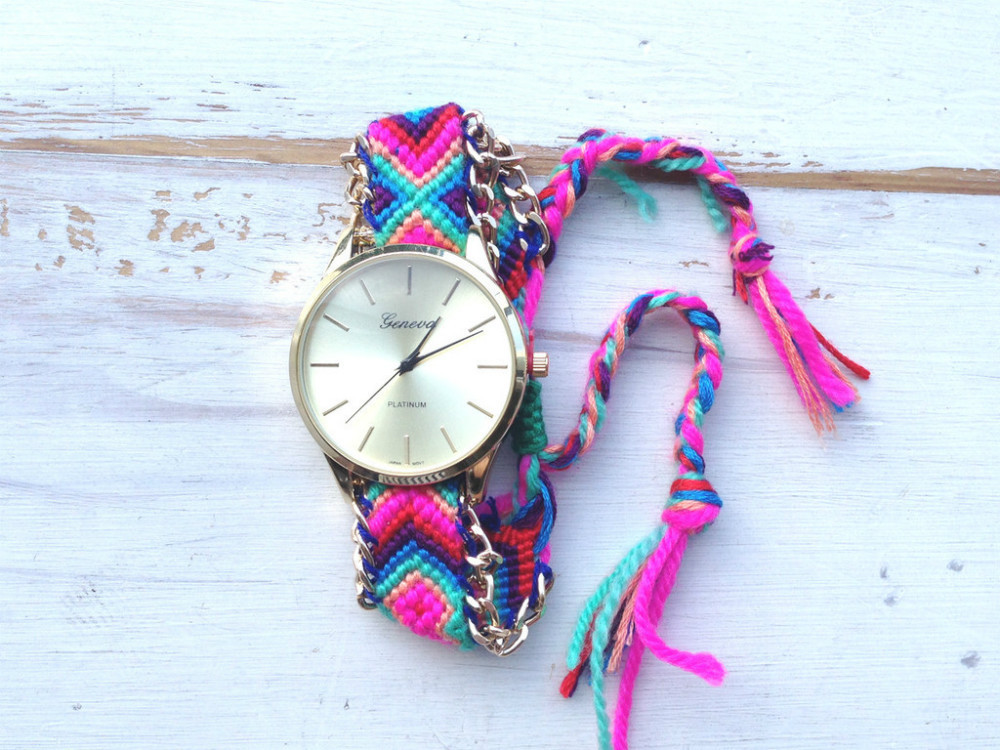 6b4933ff9 Handmade Braided Friendship New Design Fashion Girls Watch Colorful Strap  Geneva Hot Model Watches For Women