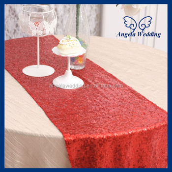 Wonderful RU009L For Sale Christmas Handmade Embroidery Glitter Red Sequin Table  Runner