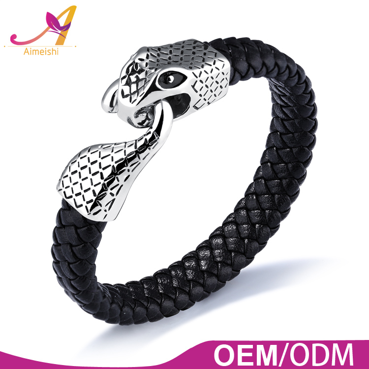 2017 fashion dragon head clasp design mens stainless steel leather bracelet