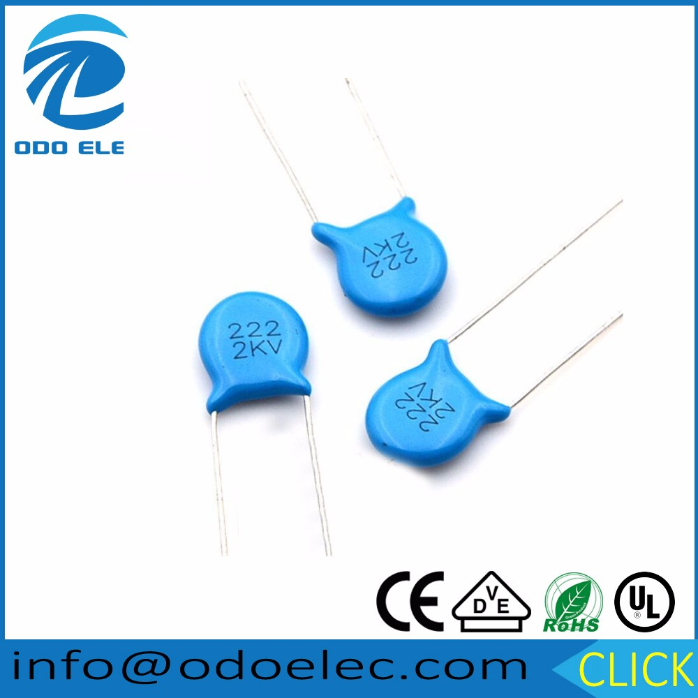 Odoelec High Voltage Blue Disc Ceramic Capacitors 2kv 222k Emi Rfi Noise Filter Circuit 222