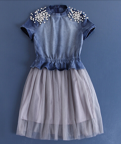 2015 latest design beaded denim veil lady fashion dress