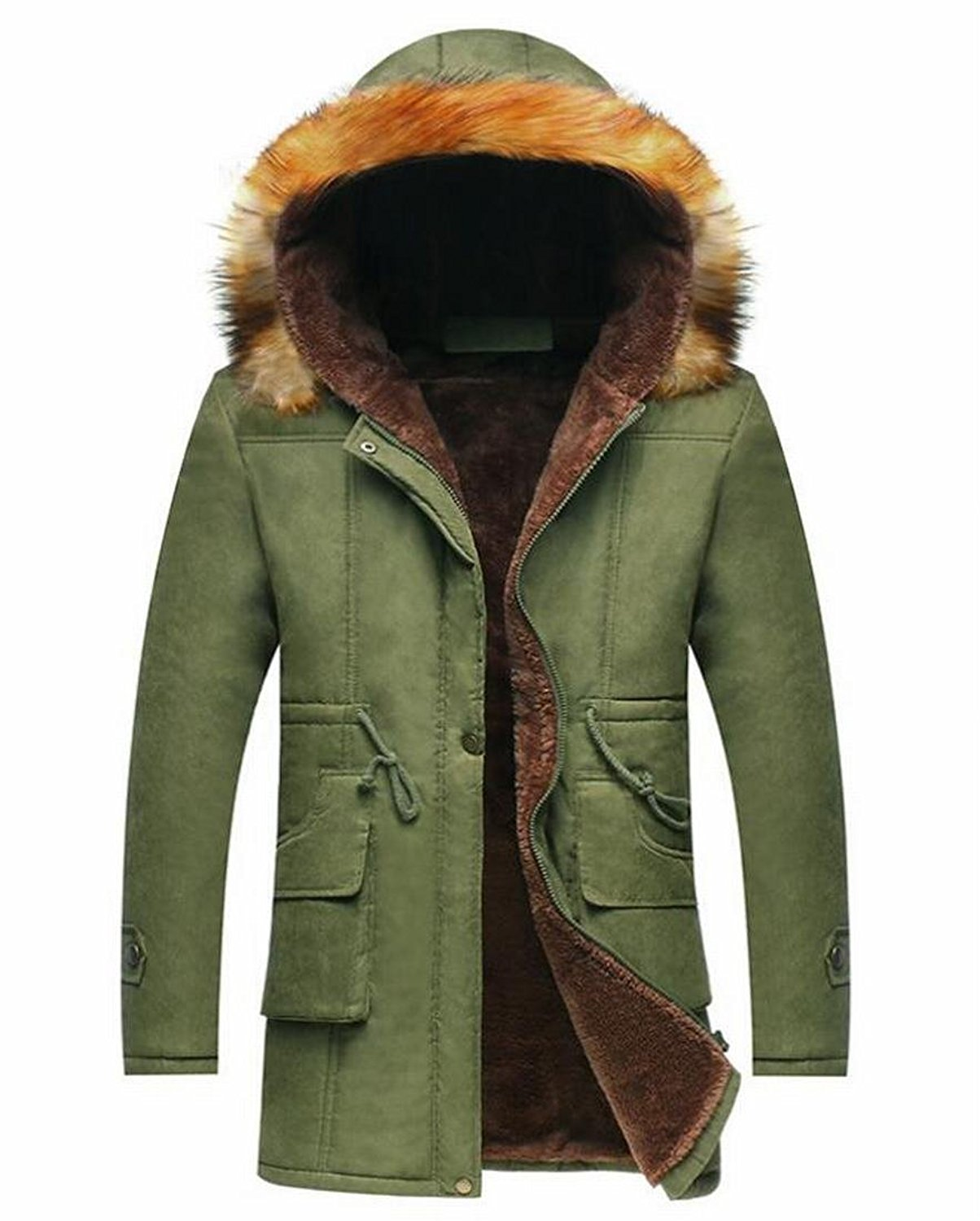XTX Men Multi Pockets Cotton Lined Warm Faux Fur Hood Winter Quilted Jacket Coat Outerwear