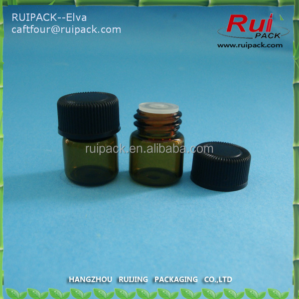 1ml 2ml 3ml 5ml mini amber glass bottle with screw bottle, glass vial, dram glass vials