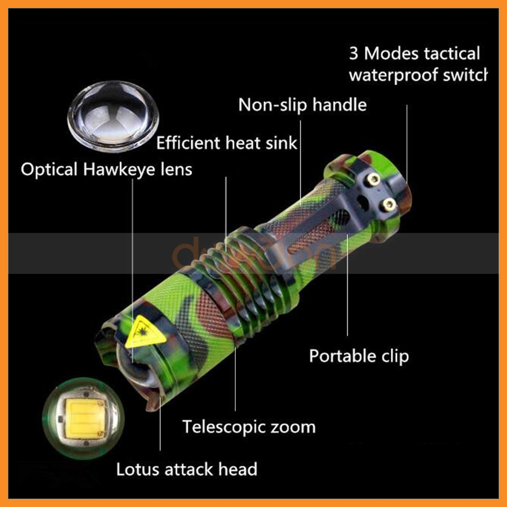Camouflage Aluminum CREE Q5 500lm 3 Mode Zoomable Tatical Flashlight