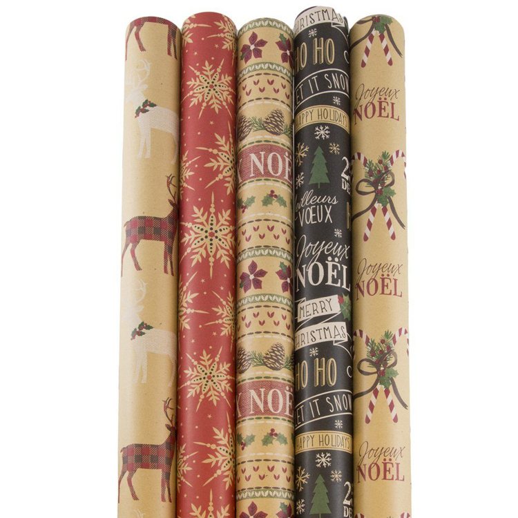 Chinese Gift Wrap Paper Factory Wholesale Christmas Printed Kraft Wrapping Paper