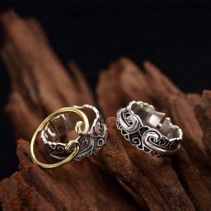 Sun Wukong Monkey King 925 Sterling Silver Rings Gold Color Decorative pattern Tight spells Ring Jewelry HR098