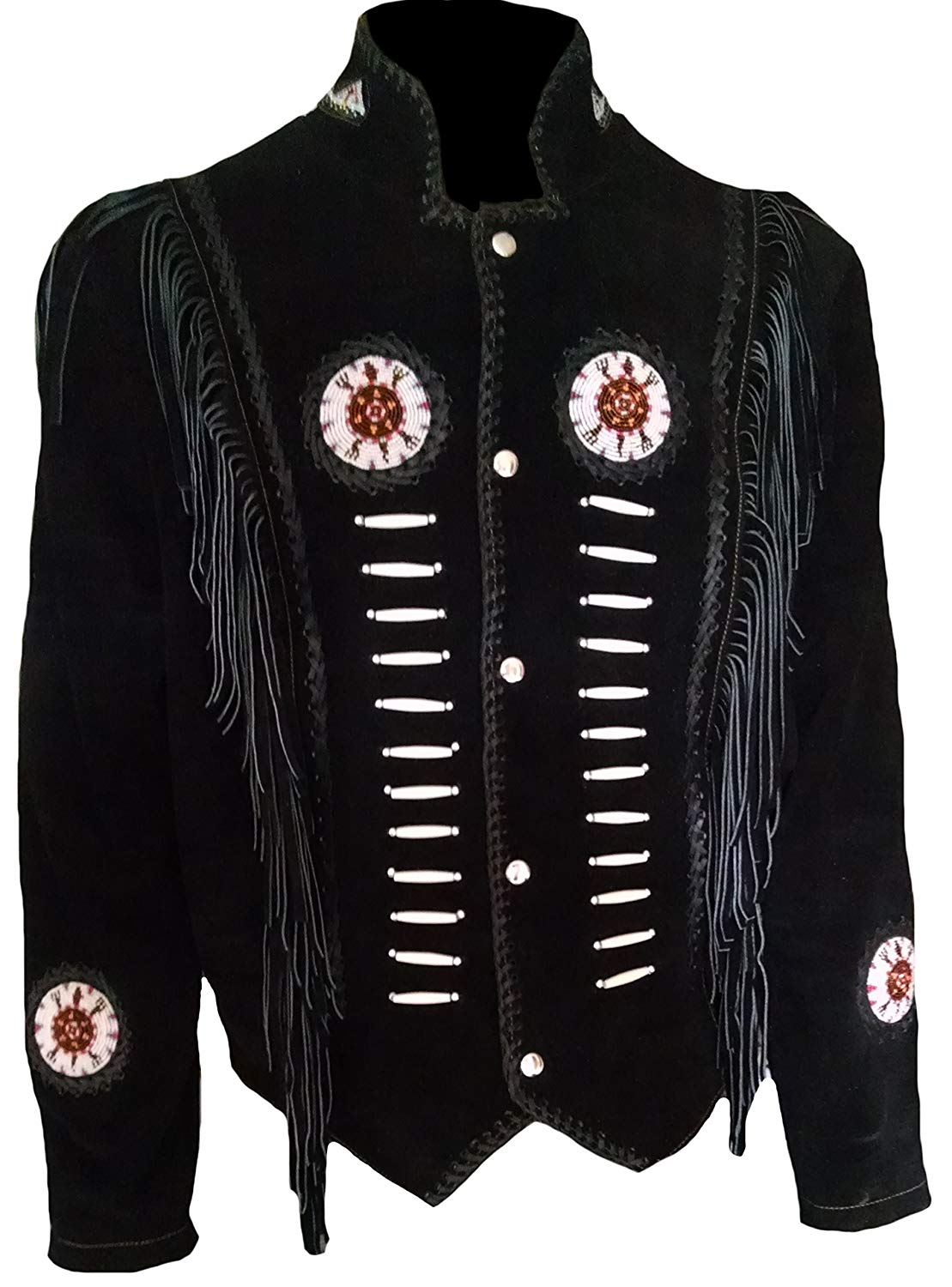 4b5a705f ... Style Cowboy Jacket with Fringe and Beaded Small to 4XL. null. null.  Get Quotations · SleekHides Men's Western Suede Leather Fringed & Boned  Jacket