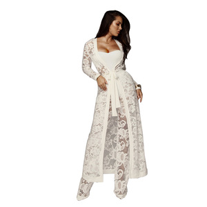 Europe Best Popular 2018 Autumn Sexy women fashion casual lace gown and pants set 3 pcs set